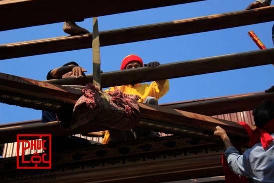 Lắp dựng nhà gỗ Lim 5 gian buồng gói